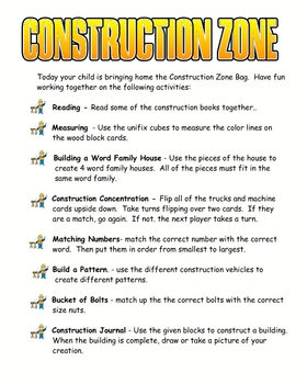 Construction Zone Take Home Bag