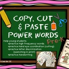 Copy, Cut, & Paste Power Words - Pre Kinder