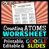 Counting Atoms in Chemical Formulas Worksheet {Editable}