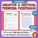 Creative & Critical Thinking Skills #2 More Fun Printables