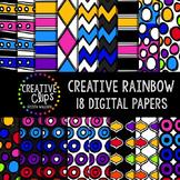 Creative Rainbow Papers {Creative Clips Digital Clipart}