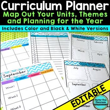Curriculum Planning Calendar & Templates EDITABLE {Maps,Pacing,Long-Range Plans}