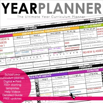 Year Planner - Back to School - Curriculum Year Pacing Planner