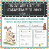 Handwriting Worksheet Bundle Cursive With Creatures Fun An