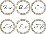 Cursive Word Wall Rainbow Stripe Labels Headers