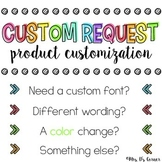 Custom Request { Product Customization } for Mrs. D's Corner