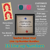 Custom Themed Vinyl Decor Bundle: 25 Line-Up Numbers, Labe