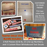 Custom Themed Vinyl Decor Bundle: Hall Passes, Line-Up Num