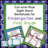 Sight Word Cut-and-Glue Sentences for Kindergarten AND Fir
