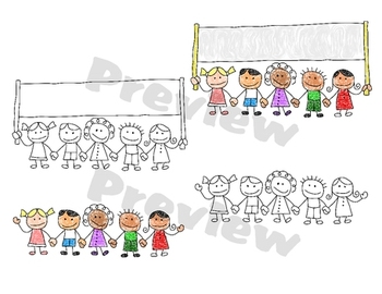 Cute Stickfigure Multicultural Children Clipart for Teachers