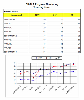 DIBELS Progress Monitoring Chart for Individual Students -