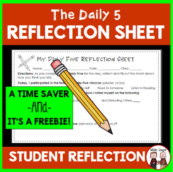Daily 5 Reflection Sheet for Students FREE
