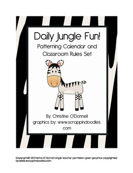 Daily Jungle Fun! Patterning Calendar & Classroom Rules Set