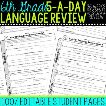 Daily Language Review Sixth Grade