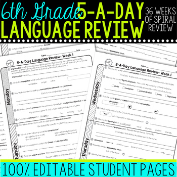 Daily Language Review 6th Grade