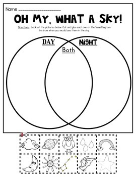 Day and Night Sky Picture Sort (Venn Diagram): Kindergarten Science