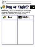 Day or Night Cut & Paste Activity; Life Skills; Boardmaker
