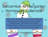 December Mon.-Thur. Editable Common Core Kindergarten 4 We