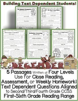December Passages w/ CCSS Text Based Questions Close Reading Weekly Homework