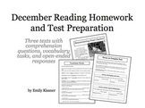 December Reading Homework and Test Preparation