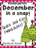 December in a Snap:  No Prep Printables for Math and Liter