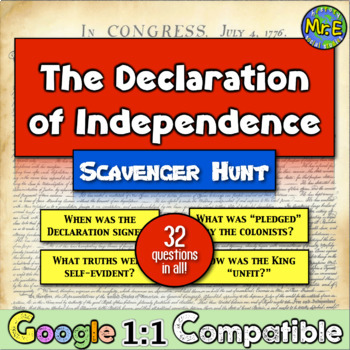 Declaration of Independence: A Scavenger Hunt! Students dive into the document!