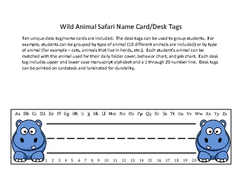 Desk Tags or Name Cards - Wild Animal, Safari, or Jungle Theme