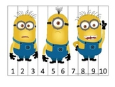 Despicable Me themed preschool aged Number Sequence Puzzle