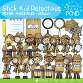 Detective Stick Kids - Clipart for Teaching