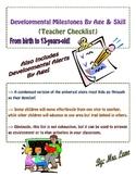 Developmental Milestones by Age & Skill (Teacher Checklist)