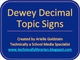 Dewey Decimal System Topic Signage for the Library