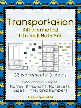 Differentiated Life Skill Math Pack - Transportation