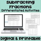 Subtracting Fractions Worksheets (3 Levels)