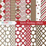 Digital Paper - My Sock Monkey (Red)