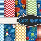 Digital Paper Pack: Animal Paper Jellyfish Penguin Cat Bir