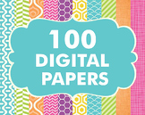 Bundles -Digital Papers Pack 100 Basic Papers Set 2
