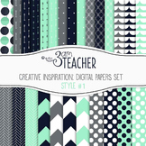 Digital Papers Set: Creative Inspiration in Navy & Sea Green