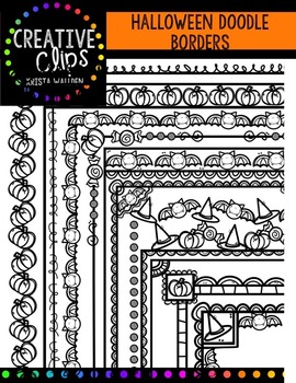 Halloween Doodle Borders {Creative Clips Digital Clipart}