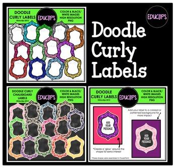 Doodle Curly Labels Clip Art Bundle