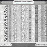 Doodle Borders, Zen Border ClipArt, Geometric Page Frames,