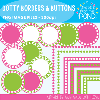 Frames - Dotty Borders and Buttons - Pink and Green