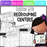 Double Digit Addition with Regrouping Math Centers {INK SAVING}