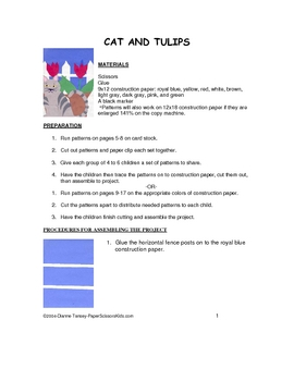 Downloadable Cat and Tulips Cut and Paste Art Project Patt