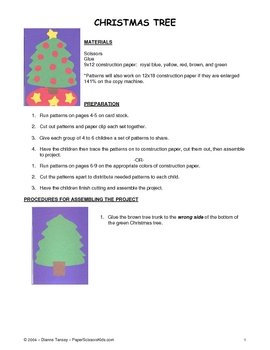Downloadable Christmas Tree Cut and Paste Art Project Patt