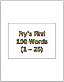 Dr. Fry's First 100 Vocabulary Sight Words (1 - 100) Power
