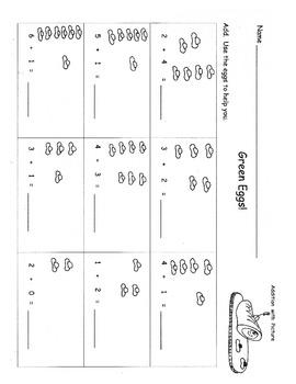 Dr. Seuss Math Kindergarten Skillsheets:  Green Eggs  Foot Book  Cat in the Hat
