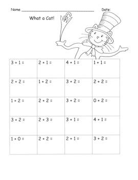 Dr. Seuss Theme C. Core Math K Skillsheets:  Green Eggs  Lorax  Cat /Hat 25 pgs.