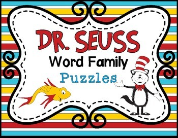 Dr. Seuss Word Family Puzzles Literacy Center (Rhyming)
