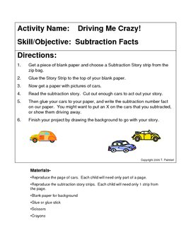 Driving Me Crazy! subtraction stories for K-1