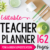EDITABLE Teacher/Life Planner for UPPER Grades: Green & Pi